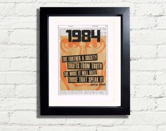 George Orwell 1984 Classic Art Print  INSTANT DIGITAL DOWNLOAD A4 Printable Vintage Dictionary style Art Wall Hanging Pdf Jpeg