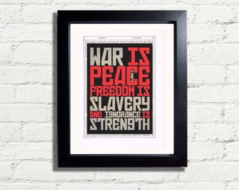 George Orwell Famous Quote War Is Peace Freedom Is Slavery INSTANT DIGITAL DOWNLOAD A4 Printable Vintage Dictionary style wall hanging