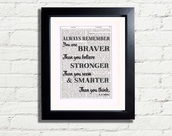 Winnie The Pooh Bear Inspirational Quote Always Remember You Are Braver Stronger Smarter INSTANT DIGITAL DOWNLOAD A4 Printable Pdf  Image