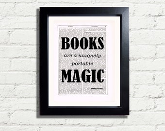 Steven King Books Are A Uniquely Portable Magic inspirational Typography Quote INSTANT DIGITAL DOWNLOAD A4 Printable Pdf Jpeg Wall Art