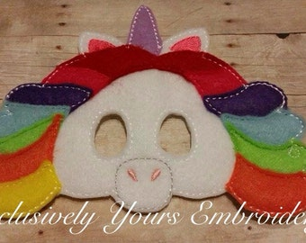 Rainbow Unicorn Children's Mask  - Costume - Theater - Dress Up - Halloween - Face Mask - Pretend Play - Party Favor