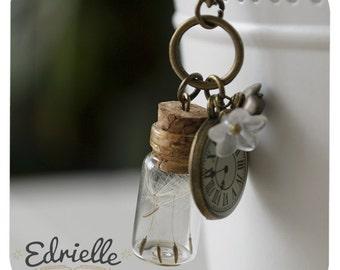 Dandelion seeds. bottle necklace, Dandelion bottle necklace whismical jewellery, cute dandelion necklace
