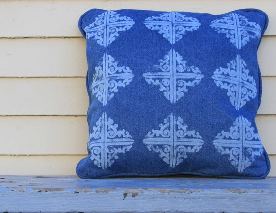 Bicoastal Denim Trellis Indigo Throw Pillow 18 Inch Blue Pillow Decorative Indigo Blue Jeans Denim Pattern Diamond Print Cottage Graphic