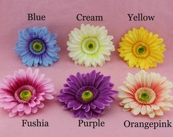 6pcs-13cm Big Gerbera Daisy Flower Arrangements Heads Decoration Sun Flower Fabric Artificial Silk Flowers for Wedding Flowers Flower Crown