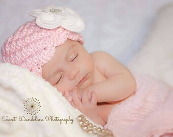 Crochet Newborn Hat Bonnet, Beanie Pink, White, Lavender, Teal Photo Prop