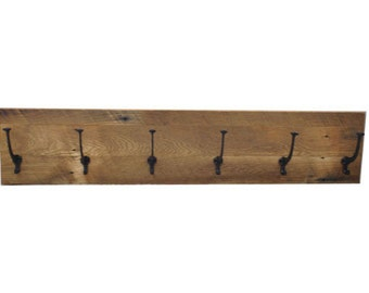 Reclaimed Barnwood Coat Rack - Choose Your Size - Custom Available, Solid Oak