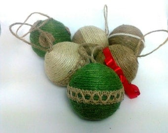 Set of 6 Decorative Christmas Gift Ornaments Natural Rope & Ecofriendly