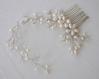 Freshwater pearl bridal headpiece