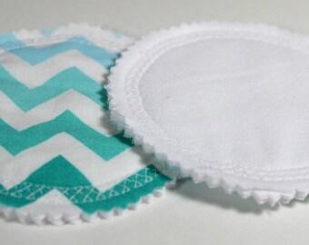 Blue Chevron Nursing Pads, Aqua Nursing Pads, Best Washable Nursing Pads, Nursing Pads for Breastfeeding, Ombre Blue Chevron