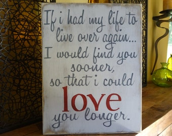 Love you longer. Hand painted wood sign/ Wedding signs/ Anniversary gift/ Personallized wedding gift/ Rustic love sign
