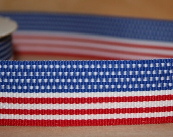 """Patriotic Stripe- Red, White and Blue 7/8"""""""