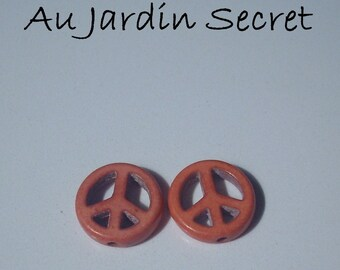10 pearls howlite PEACE AND LOVE coral-in the Secret Garden