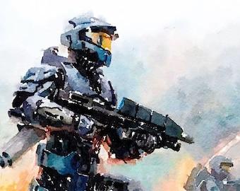 Halo series (2) digital Watercolor Poster Print Art