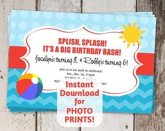 Pool Party Invitation for Birthday - Instant digital file download - Use invite to order photo prints or print on card stock - beach