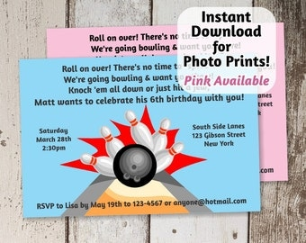 Bowling Invitation for Birthday Party - boys blue / girls pink - Instant digital file download - Use invite for photo prints or card stock!