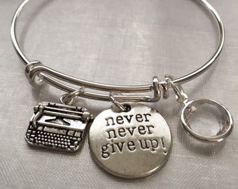 Typewriter author-Bracelet with typewriter stamped charm and stone- for the writer author