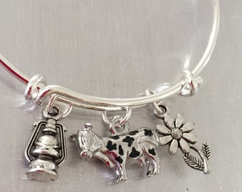 Cow-Bracelet with flower, cow and lantern