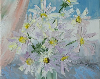 signed daisies flowers floral textured original oil painting home decor palette knife thick impasto FREE US SHIPPING