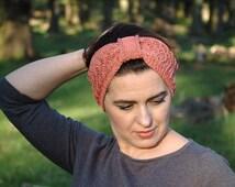 Spring & Summer Headband, Cotton Headband, Turban style, Knitted Ear Warmer, Lace Knit Headband, Headwrap, Headwrap, Cotton Turban Headband