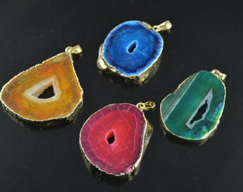 1pc Bright Color Drusy Geode Agate Stone Slab Freeform Pendant DIY Jewelry making supplies materials