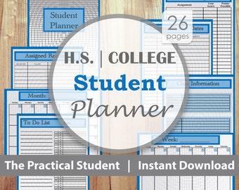 College Student Planner, College Planner, Student Planner, School Planner, High School Planner, Blue