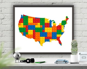 Nursery Print, USA Map, Nursery Wall Art Print, Instant Download, Map Poster, Bright Colours, America Map Printable