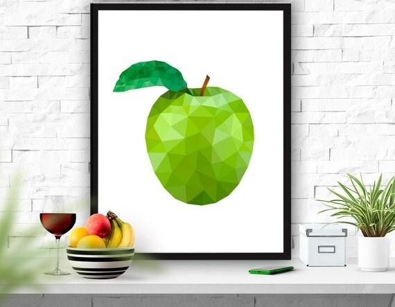 Fruit art print apple printable kitchen decor apple poster - Green apple kitchen decor ...