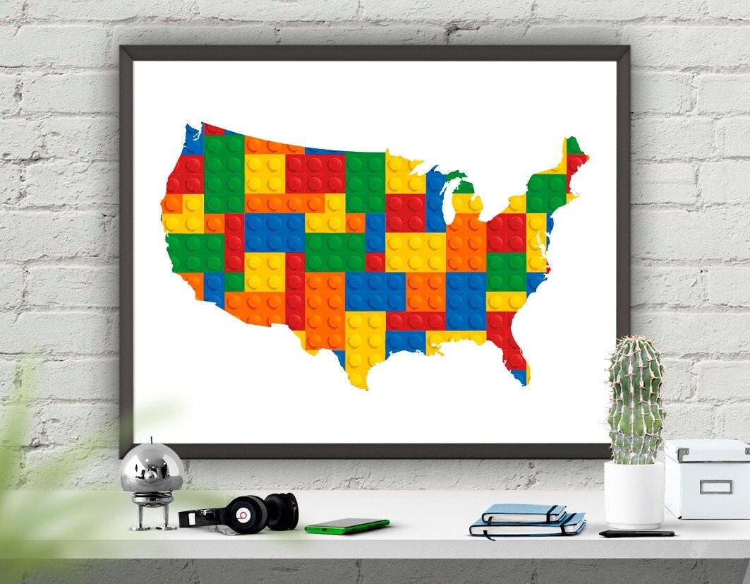 Nursery Print USA Map Nursery Wall Art Print Instant - Us map poster printable