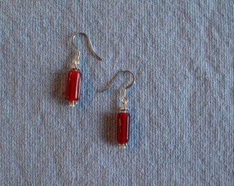 red glass tube bead earrings