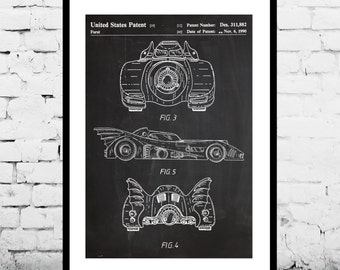 Batman Batmobile Print, Batman Batmobile Patent, Batman Batmobile Poster, Batman Batmobile Art, Batman Batmobile Decor, Batman Batmobile