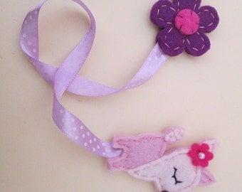 Felt Bookmark: Pink Deer, Felt deer, Birthday Gift, Flower bookmark