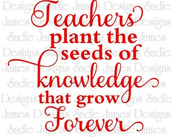 Teachers Plant Seeds of Knowledge SVG and Silhouette Studio cutting file, Instant Download