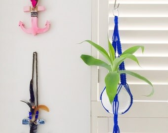 Small & Large Electric Blue Macrame Plant Hanger