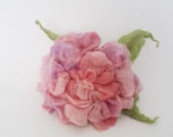 Felted Flower Brooch Watercolor Rose