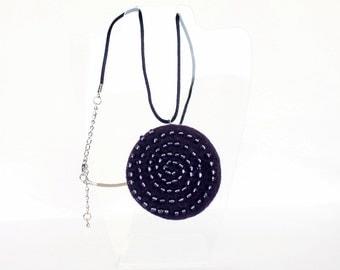 Felted Pendant Dark Purple Velvet - Felted Jewelry