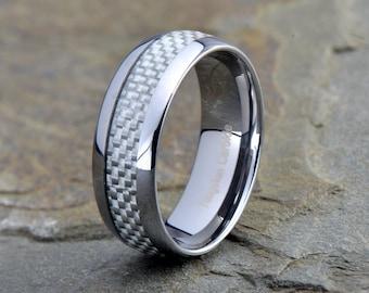 Mens Tungsten Carbide Wedding Band, 8mm, Polished, Beveled Edge Carbon Fiber Inlay, Custom Laser Engraving, Anniversary Ring, Wedding rings