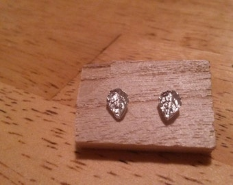 Organic Silver Leaf Earrings