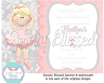 TUTU Cute- Ballet Fun Party Invitation - DIY By: SimplyBlessedDesign