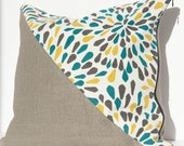 CLEARANCE: Throw Pillow Cover / Gray, White, Yellow, Blue Burst Print