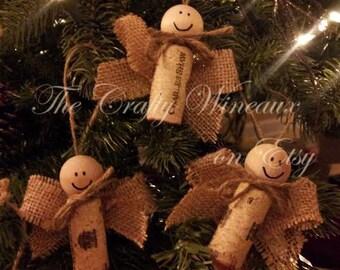 Wine Cork Angels, Burlap, Twine and Wine Cork Angel Ornaments