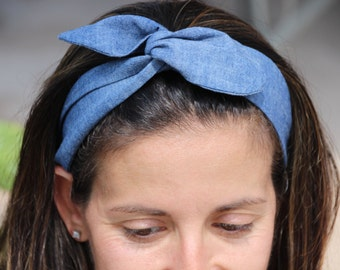 Jean Wired Headband- Headband Wrap -Twist  , Girls Headband .