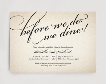 Wedding Rehearsal Dinner Invitation Editable Template - Before we do, we dine! - Rustic PDF Instant Download  #BPB88