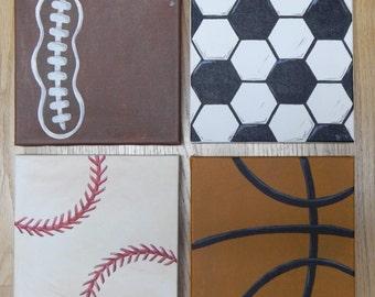 Sports Themed Canvas Paintings football, soccer, baseball, basketball (Set of 4)- FREE Personalizing