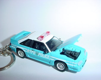 3D 1987 Ford Mustang GT NYPD police custom keychain by brian thornton keyring key chain finished in blue/white finish