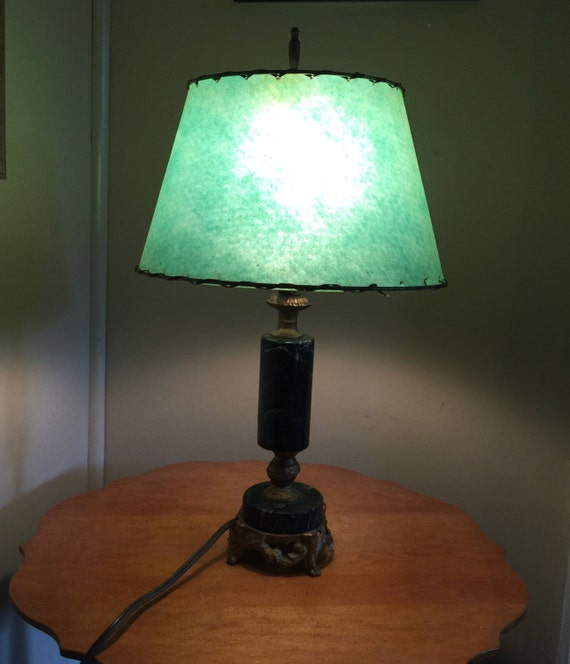 vintage table lamp marble base original green shade all original. Black Bedroom Furniture Sets. Home Design Ideas