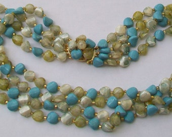 Vintage Four Strand Turquoise & Green Bead Hong Kong Necklace