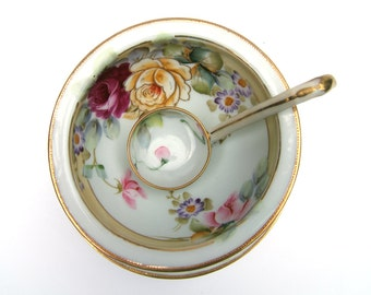 Antique Porcelain Rose Bowl, Ladle and Plate | Hand Painted China | Nippon Cherry Blossom