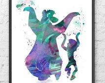 The Jungle Book Watercolor, Mowgli and Baloo Dancing, Disney Watercolor Painting, Kids Room Decor, Nursery Decor, Wall Art, Home Decor - 182