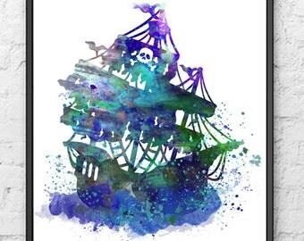Black Pearl Watercolor Print, Pirates of the Caribbean, Pirate Ship, Movie Poster, Nursery Art, Kids Room Decor, Home Decor, Wall Art - 122