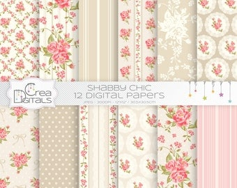 Beige and coral Shabby chic 12 digital papers - INSTANT DOWNLOAD